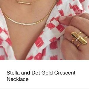 Stella & Dot Gold Crescent Necklace-Retired-NEW